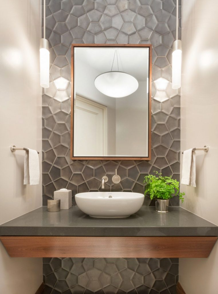 powder room with mirror